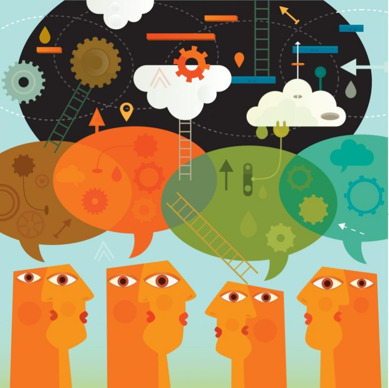 Four illustrated heads have speech bubbles with cogs, clouds and ladders floating above