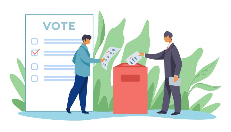Voters inserting forms into ballot boxes. esigned by pch.vector / Freepik
